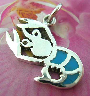 Lobster Thailand made solid sterling silver charm pendant with turquoise