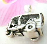 Carved-out classical 3-wheel car design Thailand made solid sterling silver charm pendant with movable wheels