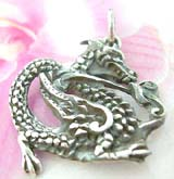 Oriental power carved-out majestic dragon  Thailand made solid sterling silver charm pendant