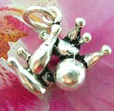925. Thailand made solid sterling silver charm pendant in bowling