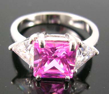 Fashion wholesale cz wedding ring for her distribute pink cz ring paired with two clear cz