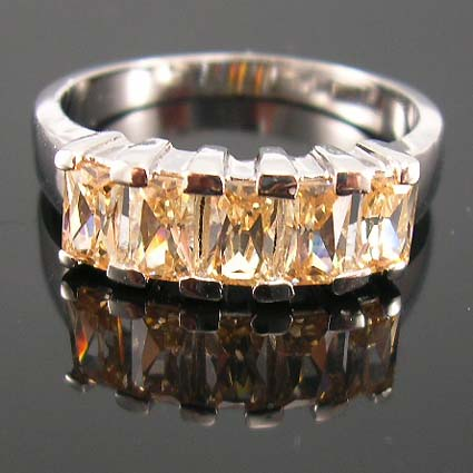 Women trend fashion cz jewelry promise ring display online -  champagne ring in fine rhodium plated