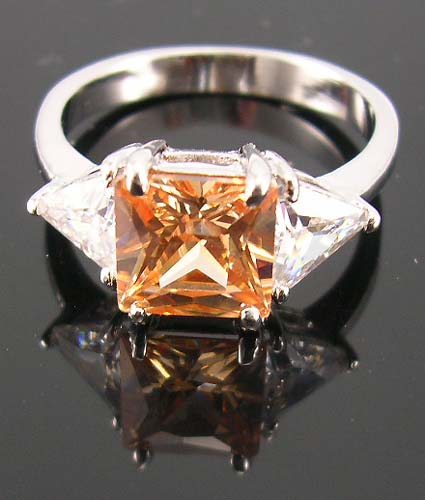 Canadian fashion cubic zirconia wedding jewelry ring wholesaler in champagne ring paired with two clear cz stones