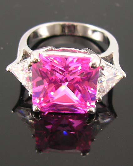 Custom anniverary fashion cz ring for women online store - pink cz ring central design paired with two clear cz stones