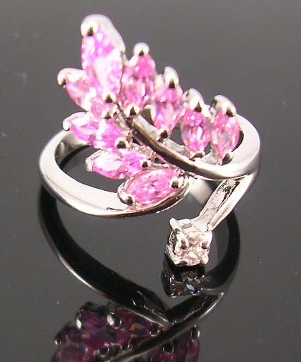 Wholesale supply great accessory for season distribute rhodium ring with multi pink cz embedded leaf shape pattern design