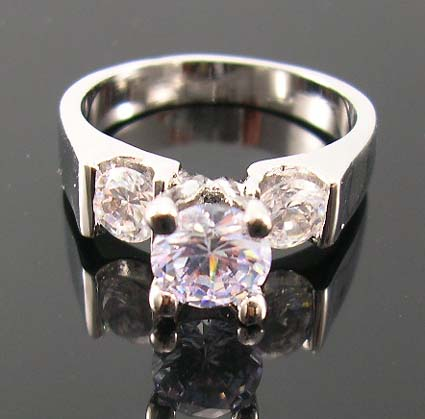 Christmas jewelry cz ring shop online wholesale suppy high rhodium ring with lavender purple cz ring paired two clear cz