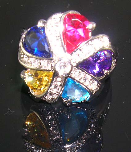 Distinctive high designer inspired cz jewelry ring in combination of ruby, yellow, purple, aqua and sahpphire-blue cz embedded flower patter design