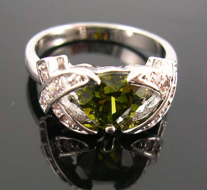 Wholesale fashion wedding cubic zirconia ring selection online - olive green cz ring with X-shaped with multi clear cz embedded