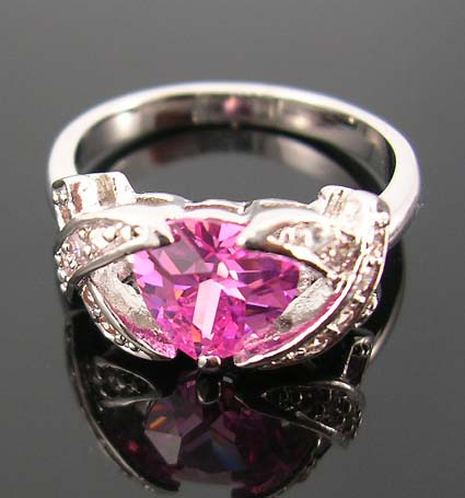 Special event jewery diamond cz gift wholesaler distribute rhodium ring in combination of pink and clear cz stones
