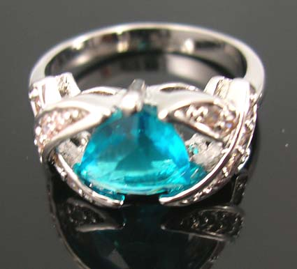 Seasonal diamond cz jewelry fashion on sale wholesaler in aqua cz ring paired with multi clear cz stones