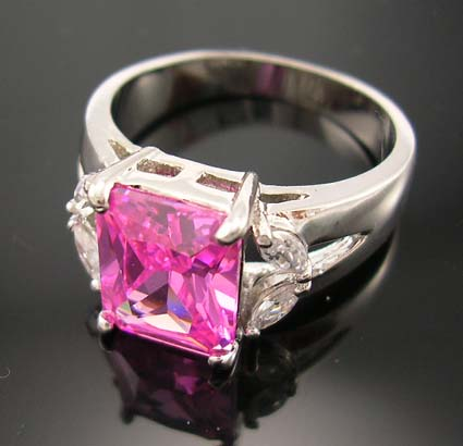Fine engagement& wedding cubic zirconia ring for your love wholesale pink cz ring paired with clear cz stones