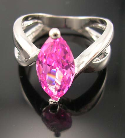 Delicate high design cz jewelry engagement ring for cz lover supply olive cut pink cz ring with double band design