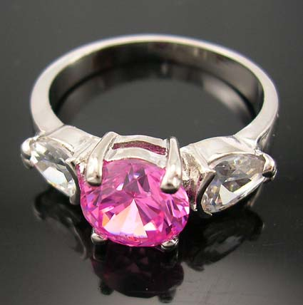 Catalog anniversary cz ring fashion design in pink cz central setting ring with clear cz around
