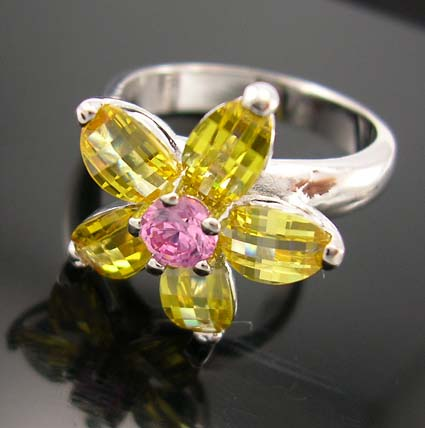 Teen's fashion cubic zirconia friendship ring jewelry in rhodium plated with yellow and pink cz embedded flower shape design