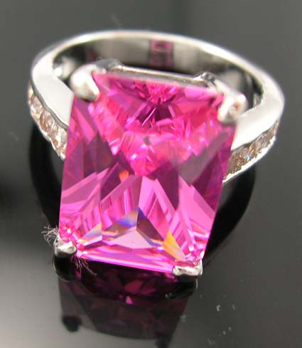 Princess cut cubic zirconia wedding & anniversary jewelry ring wholesale display - pink cz ring in princess cut paired with multi clear cz