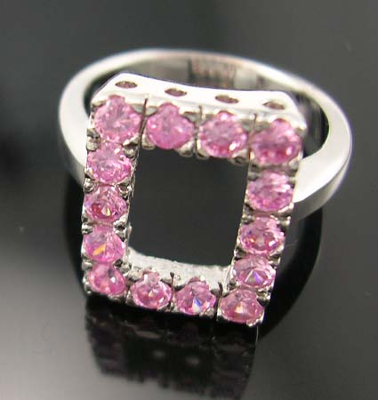 Wholesale distinctive cz jewelry design fashion lady ring in cut-out rectangular-shaped pattern with multi pink cz embedded