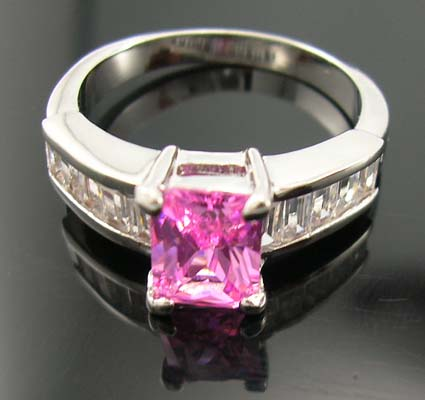 Wholesale diamond cz engagement ring at wholesale discount supply pink cz ring paired with multi clear cz stones