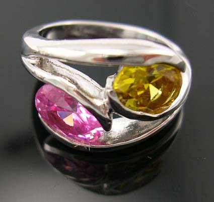 Wonderful Christmas jewelry gift for cubic zirconia lover, rhodium ring in combination of yellow and pink cz stones