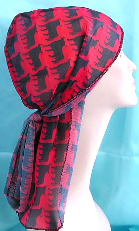 Large selection of head bandana wholesale company supply red and black pattern wrinkle free polyester fashion durag with long tie