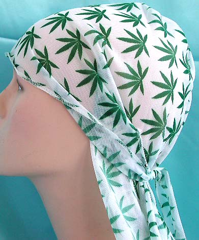 Bandana one size fits all headware wholesale distribute pure white with green tropical tree pattern wrinkle free polyester fashion durag with long tie