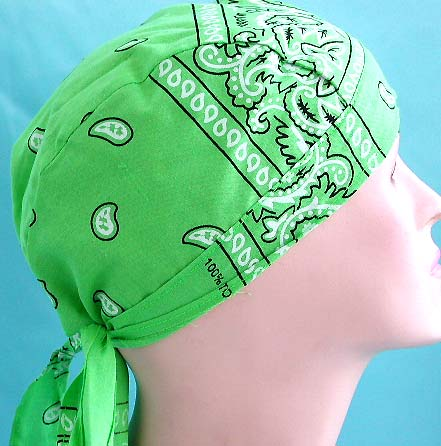 Durag & head bandana giftware for green lover wholesale in apple green with water drop pattern design fashion cotton skullcap with tie string