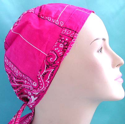 Wholesale head bandana durag catalog on sale, darker pink natural cotton skullcap with pattern design, tie at the back