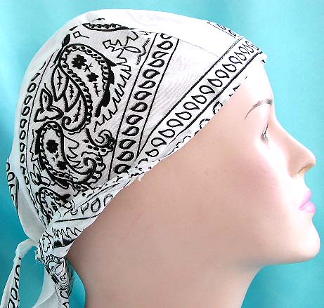 Unique head accessory design in durag online supply pure white fashion cotton skullcap with black pattern design