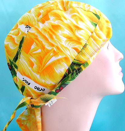 Unisex Hawaii head scarves durag designer wholesale distribute yellow and green fashion cotton skullcap with tie