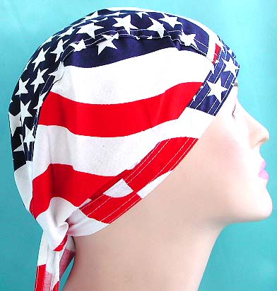 American flag bandana shopping online giftware - American spirit American flag design fashion cotton skullcap with tie