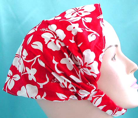 Lastest lady fashion head wrap scarf durag wholesale display head scarf with stretchable end in red hawaiian ginger flower design