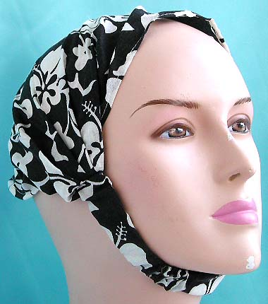 Wholesale head bandana, one size fits all at exclusive price store, head scarf with stretchable end in black hawaiian ginger flower design