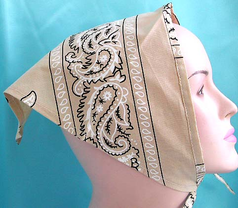 Catalog unisex durag design on sale in cotton triangle head bandana head scarf with tie in muddy yellow with oriental pattern design