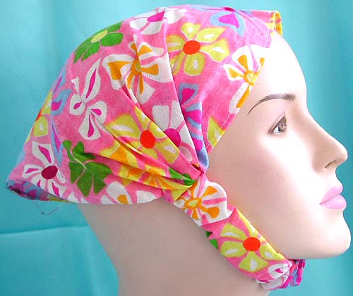 Wonderful headwraps gift for teen flower-inspired wholesaler, head scarf with stretchable end in pinky flower design