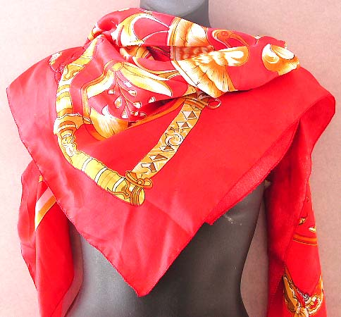 Perfect scarf selection for women wholesale distribute large square polyester scarf in Celtic sun moon pattern on fire red background