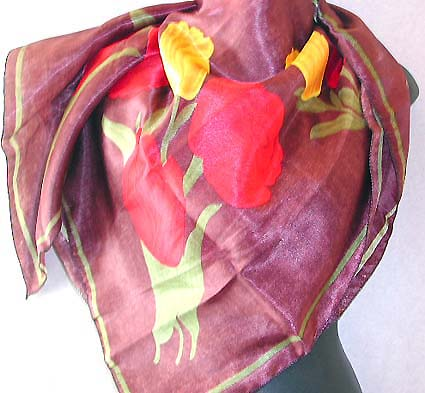 Fashion accessories in scarf distributor in Canada - purple motif red and yellow flower design large square scarf
