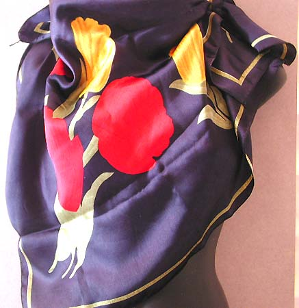 Selling fashion scarves online for holiday shopping, dark blue large square polyester scarf with red yellow flower decor
