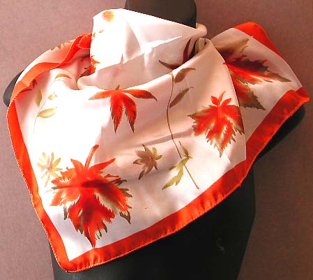 Canada scarf maple-inspired giftware supplier, red edge with reddish maple leaf design fashion polyester neck chief