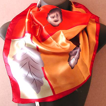 All the lady scarves at exclusive price wholesaler display golden silver polyester neck chief with leaf pattern decor