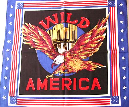 US headwraps design giftware online shop - American flag edge design with wild American eagle pattern fashion cotton bandana