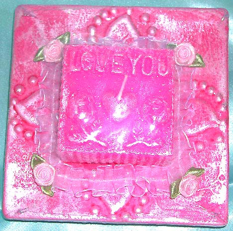 "Shop candle gift for love one wholesale company supply pink rectangular ""I LOVE YOU"" motif fashion candle"