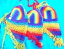 Triangle pastal rainbow color crochet top with shape angle design on bottom, tie at top and back, randomly picked by our staffs