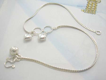 Direct gift wholesale for anklet jewelry supplier, sterling silver ankllet with double solid hearts
