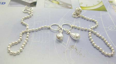 Anklet jewelry shopping cart wholesaler supply stamped 925 sterling silver anklet in balls with double water-drop decor