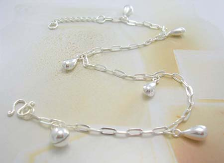Discount jewelry onling anklet shopping wholesale supply sterling silver anklet with multi water-drop decor