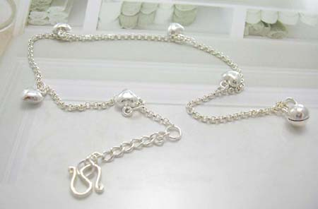 Love gift jewelry wholesale for her display in sterling silver anklet with multi hearts decor