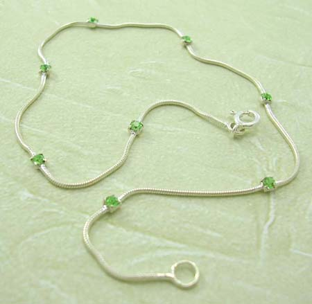 Wholesale custume jewelry anklet supplier in sterling silver anklet with multi mini green Cz