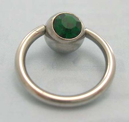 Direct gift wholesale for body jewelry supplier in steel ball closure ring body jewelry with green Cz stone embedded