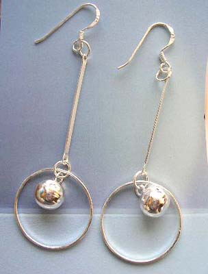 Supply high quality jewelry wholesaler in dangling circle with bead sterling silver earrings