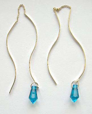 Distributor fashion threader jewerly in stelring silver earrlings with blue water-drop Cz