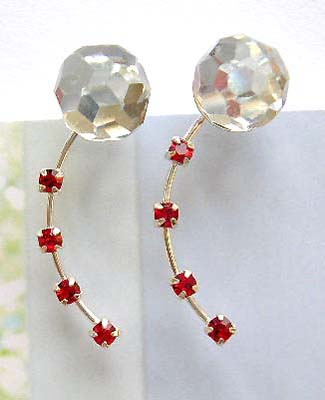 High design fashion jewelry making supplier sterling silver clear and red Cz threader earrings